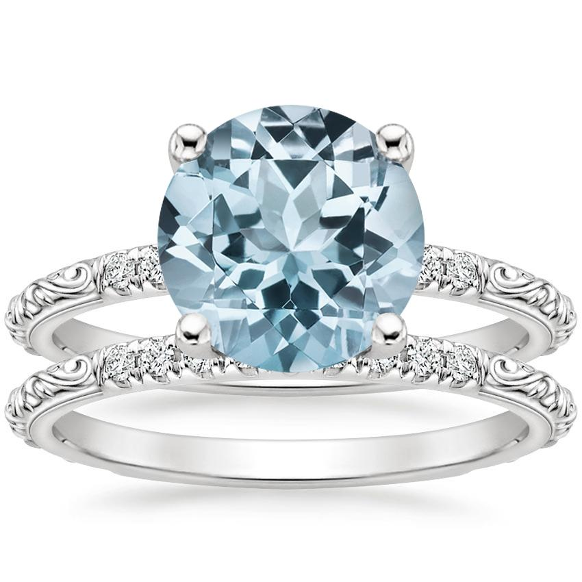 PT Aquamarine Adeline Diamond Bridal Set, top view
