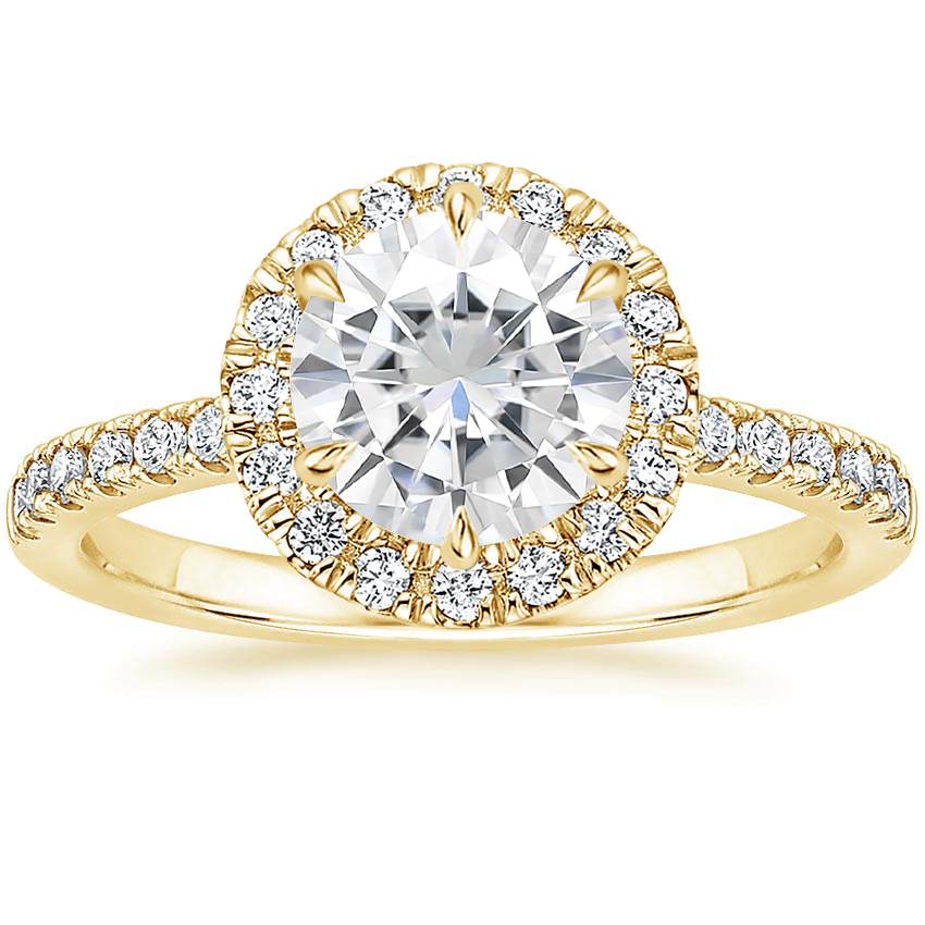 Yellow Gold Moissanite Poppy Halo Diamond Ring (1/3 ct. tw.)