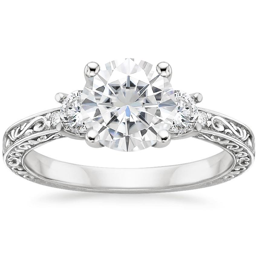 Moissanite Antique Scroll Three Stone Trellis Diamond Ring (1/3 ct. tw.) in 18K White Gold
