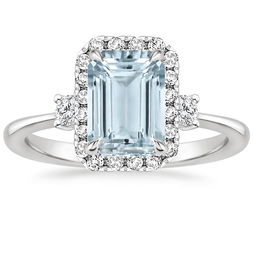 Aquamarine Selene Halo Diamond Ring (1/4 ct. tw.) in 18K White Gold