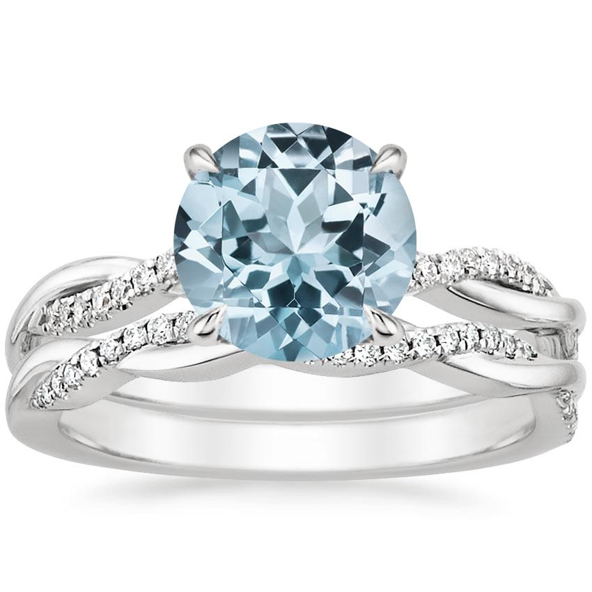18KW Aquamarine Petite Twisted Vine Diamond Bridal Set (1/4 ct. tw.), top view