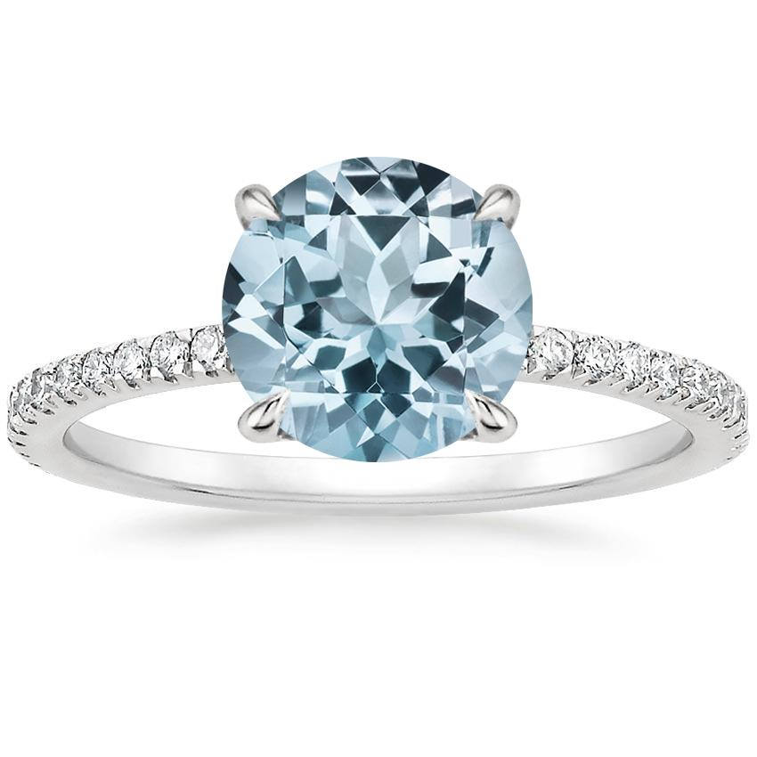 Aquamarine Viviana Diamond Ring (1/3 ct. tw.) in 18K White Gold