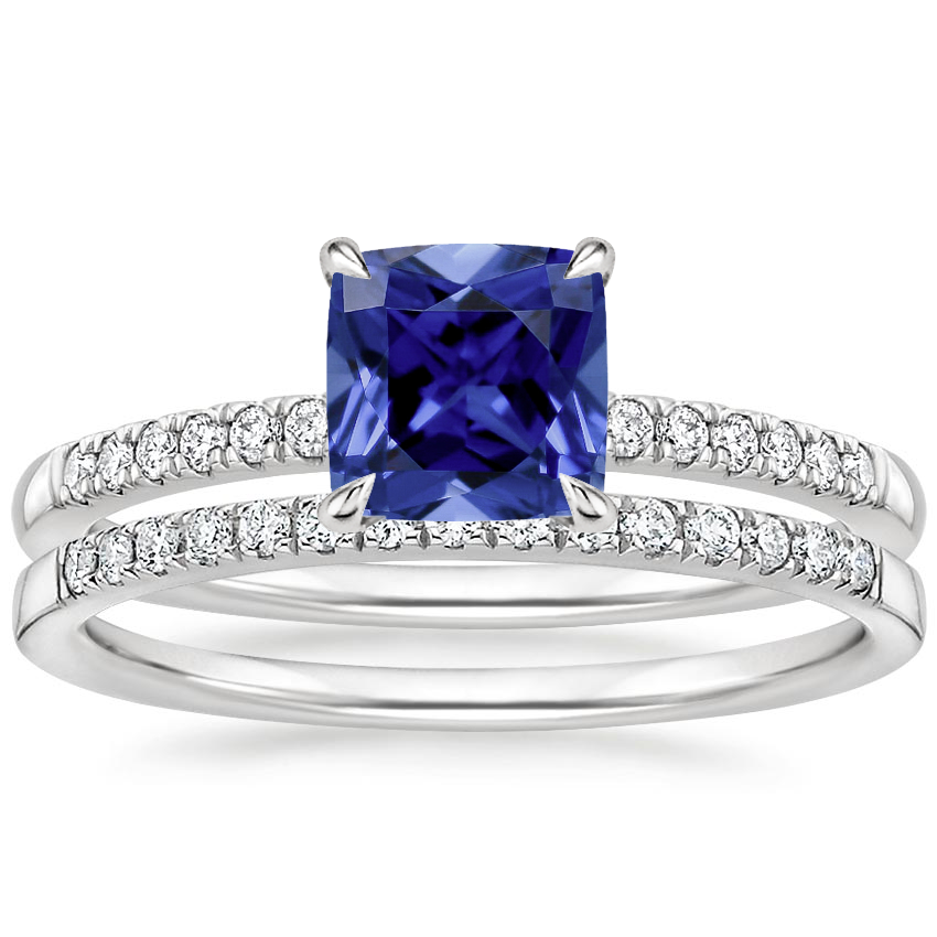 18KW Sapphire Petite Viviana Diamond Bridal Set (1/4 ct. tw.), top view