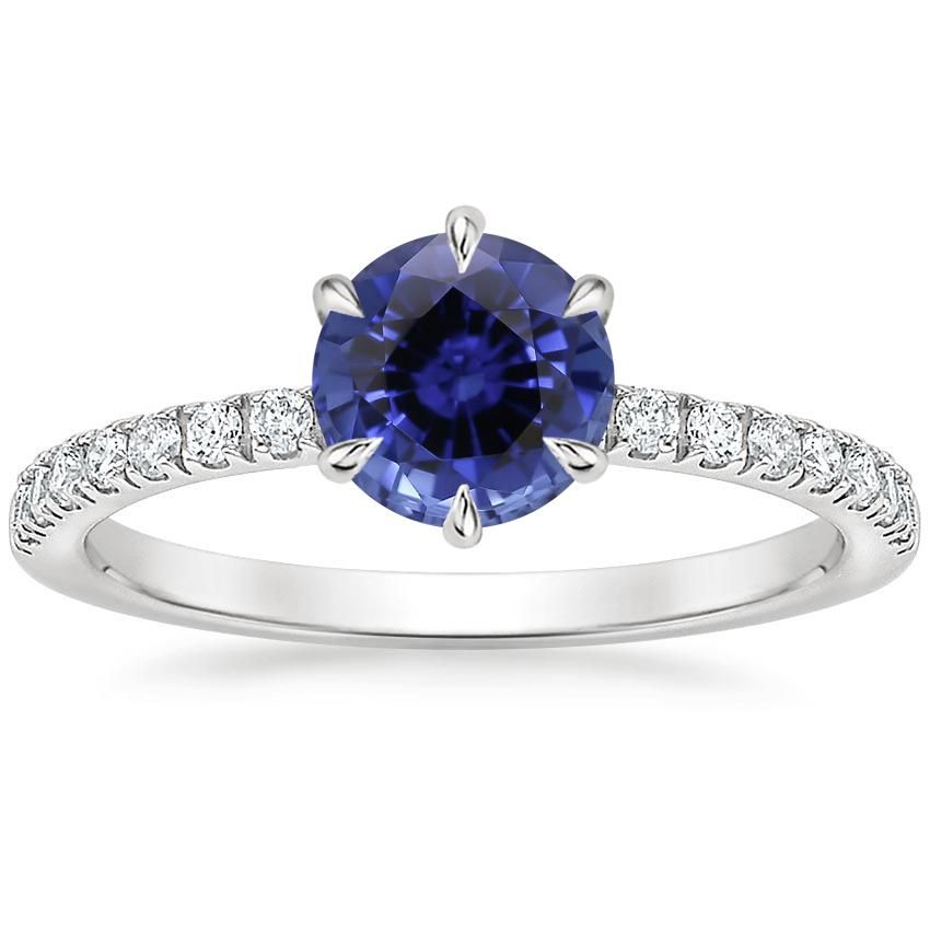 Sapphire Poppy Diamond Ring (1/6 ct. tw.) in 18K White Gold
