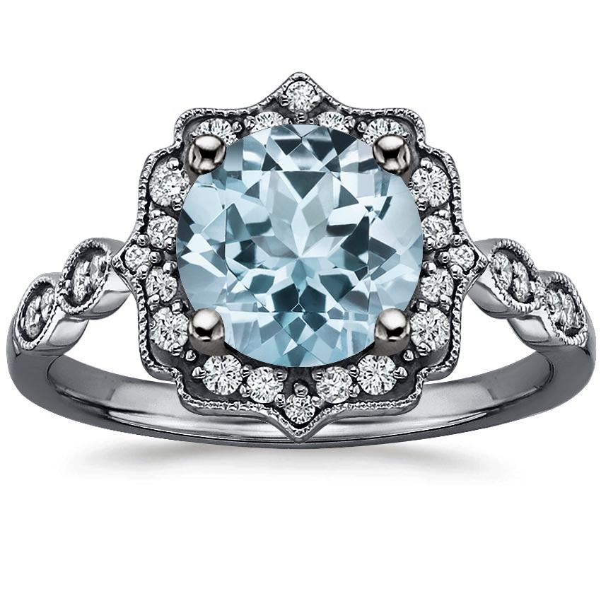 Aquamarine Black Rhodium Cadenza Halo Diamond Ring in 18K White Gold