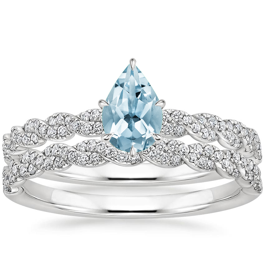 18KW Aquamarine Cadence Diamond Bridal Set, top view