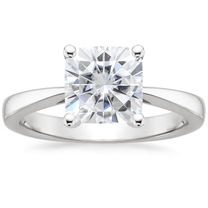 Moissanite Petite Tapered Trellis Ring in Platinum
