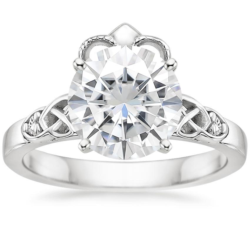 Moissanite Celtic Claddagh Diamond Ring in 18K White Gold
