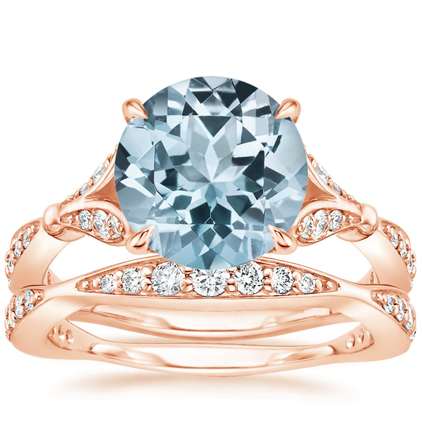 14KR Aquamarine Zinnia Diamond Bridal Set (1/2 ct. tw.), top view