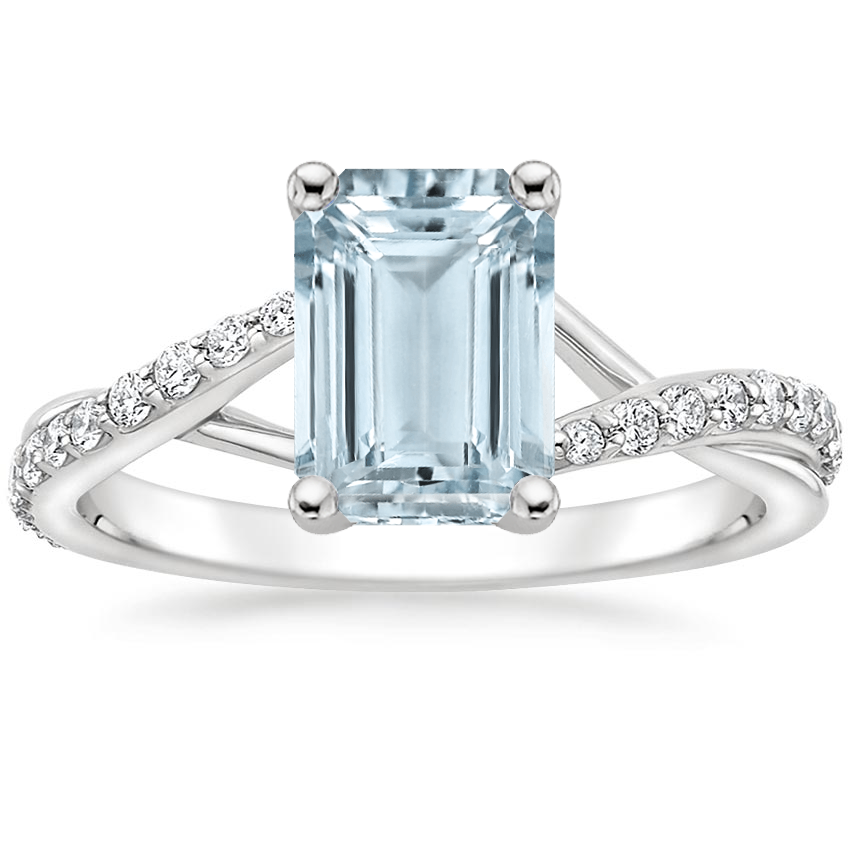 Aquamarine Luxe Chamise Diamond Ring (1/5 ct. tw.) in 18K White Gold