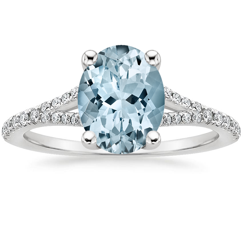Aquamarine Flair Diamond Ring in Platinum