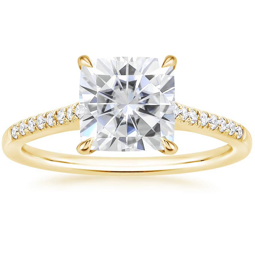 Yellow Gold Moissanite Lissome Diamond Ring (1/10 ct. tw.)