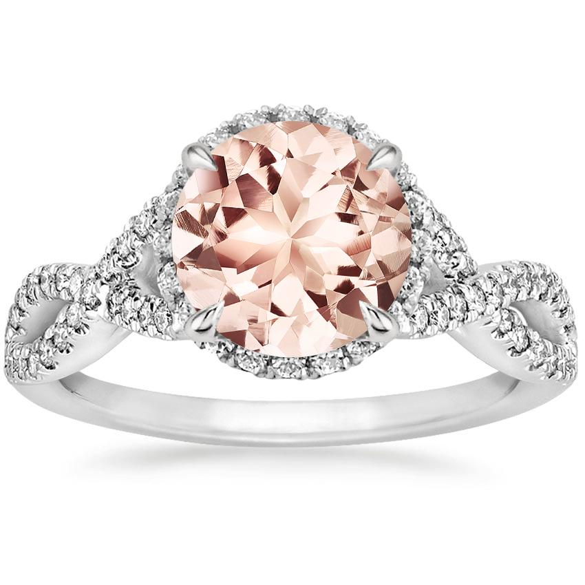 Morganite Entwined Halo Diamond Ring 1 3 Ct Tw In 18k White Gold