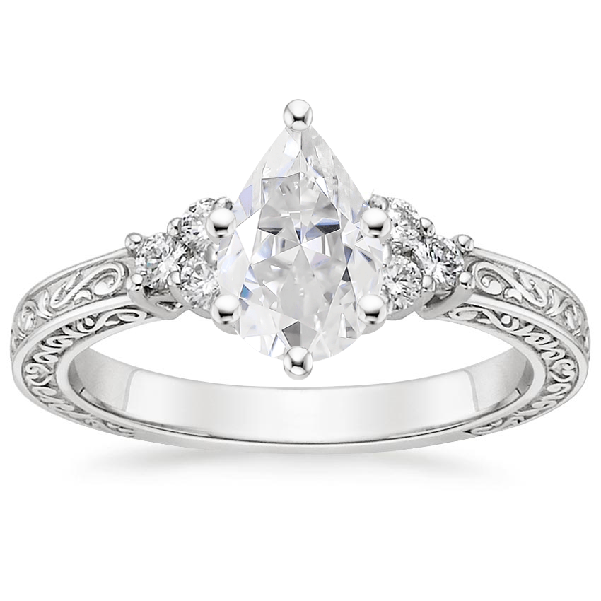 Moissanite Adorned Trio Diamond Ring in Platinum