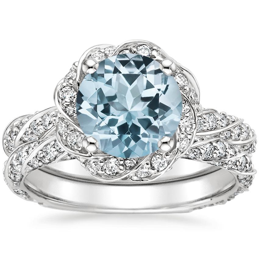 18KW Aquamarine Cordoba Diamond Bridal Set (1 ct. tw.), top view