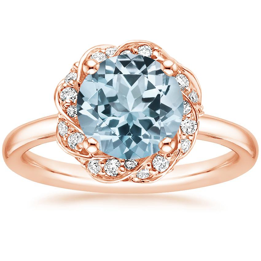 Rose Gold Aquamarine Corinna Diamond Ring