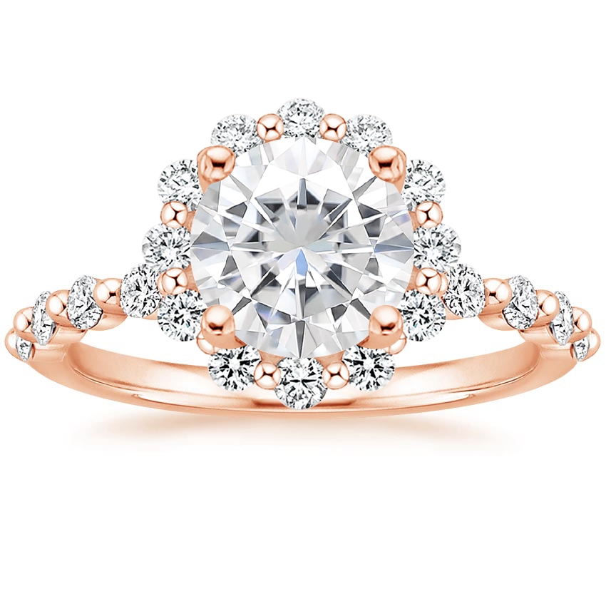 Rose Gold Moissanite Marseille Halo Diamond Ring (1/2 ct. tw.)