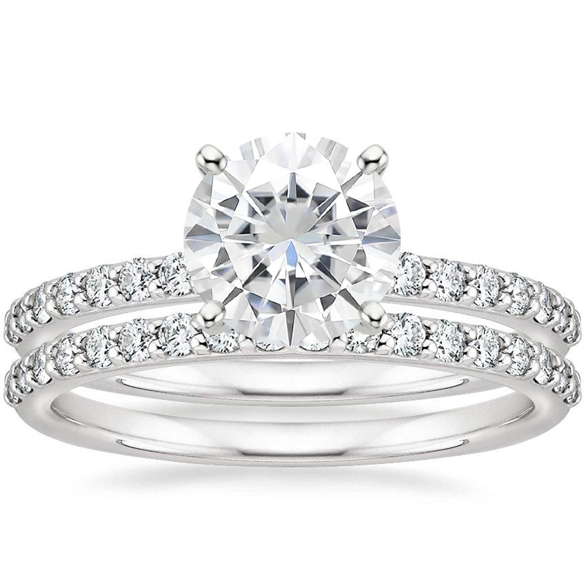 18KW Moissanite Petite Shared Prong Bridal Set (1/2 ct. tw.), top view