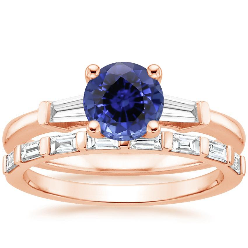 14KR Sapphire Tapered Baguette Diamond Ring (1/5 ct. tw.) with Barre Diamond Ring (1/4 ct. tw.), top view