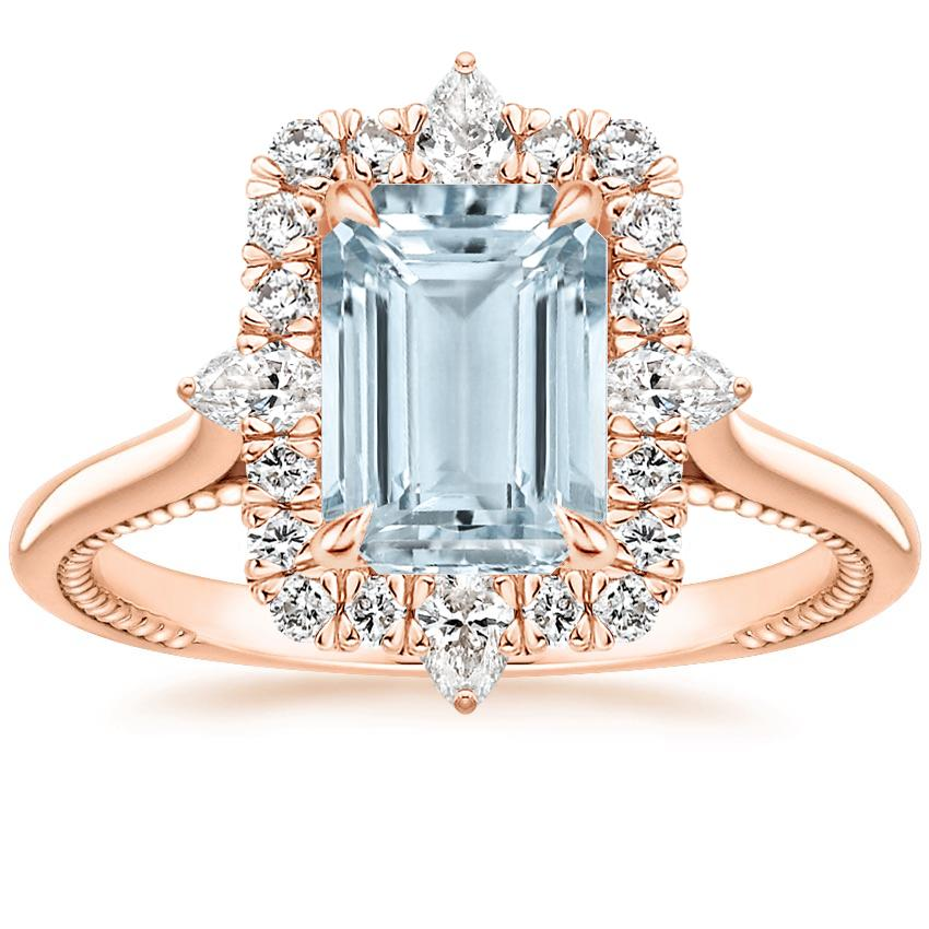 Rose Gold Aquamarine Dahlia Diamond Ring (1/3 ct. tw.)