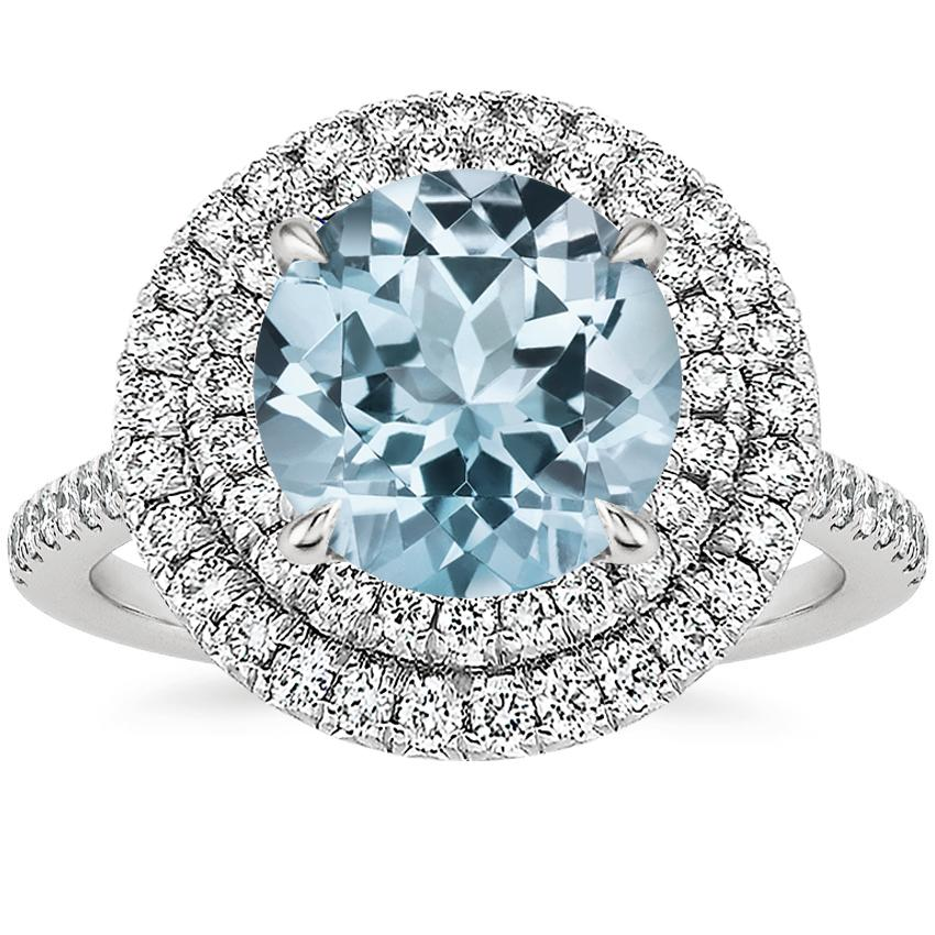 Aquamarine Soleil Diamond Ring (1/2 ct. tw.) in Platinum