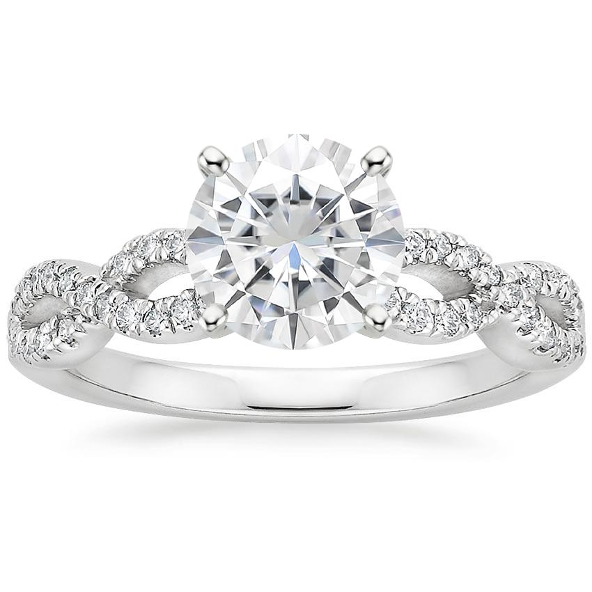 Moissanite Infinity Diamond Ring in 18K White Gold