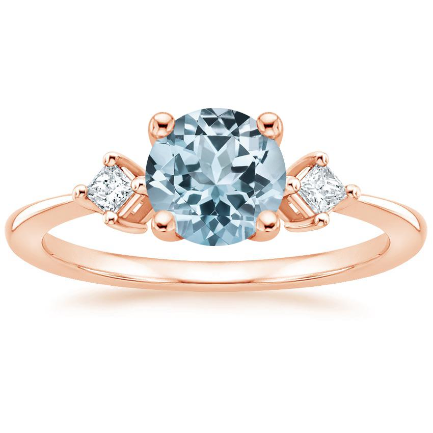 Rose Gold Aquamarine Tria Diamond Ring