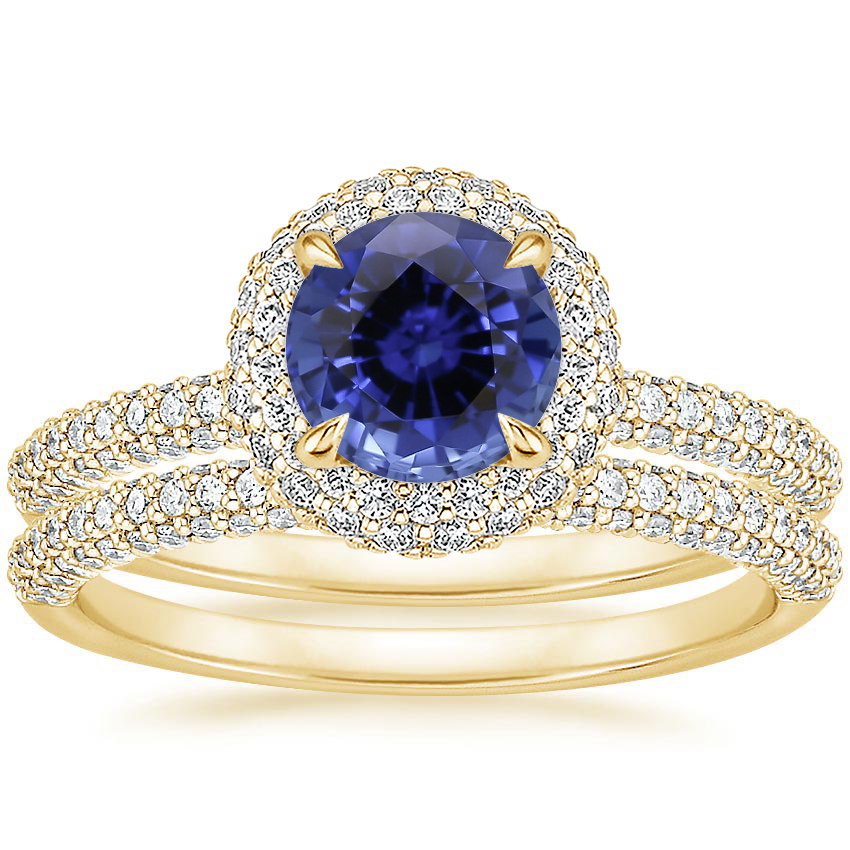 18KY Sapphire Valencia Halo Diamond Bridal Set, top view