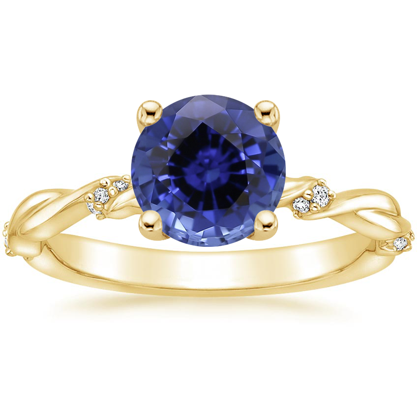 Yellow Gold Sapphire Cleo Diamond Ring