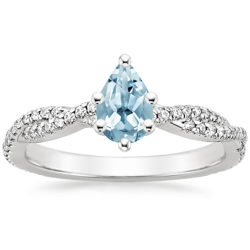 Aquamarine Petite Luxe Twisted Vine Diamond Ring (1/4 ct. tw.) in 18K White Gold
