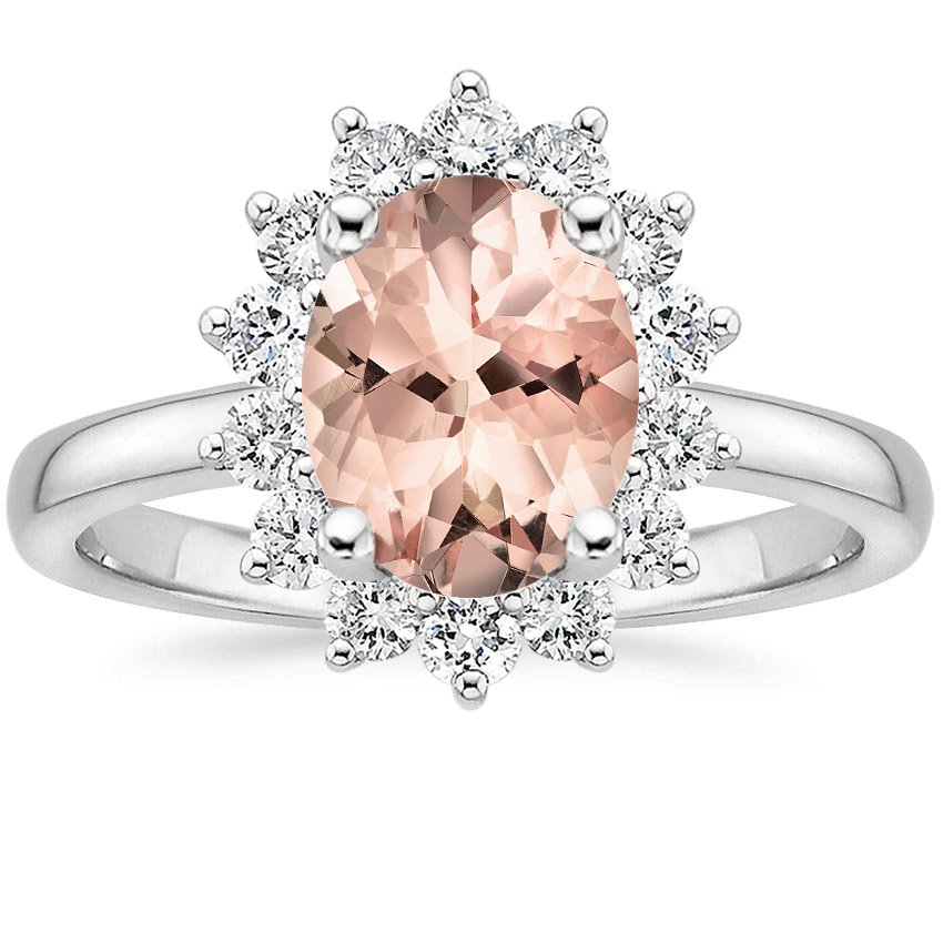 Morganite Sunburst Diamond Ring (1/4 ct. tw.) in 18K White Gold