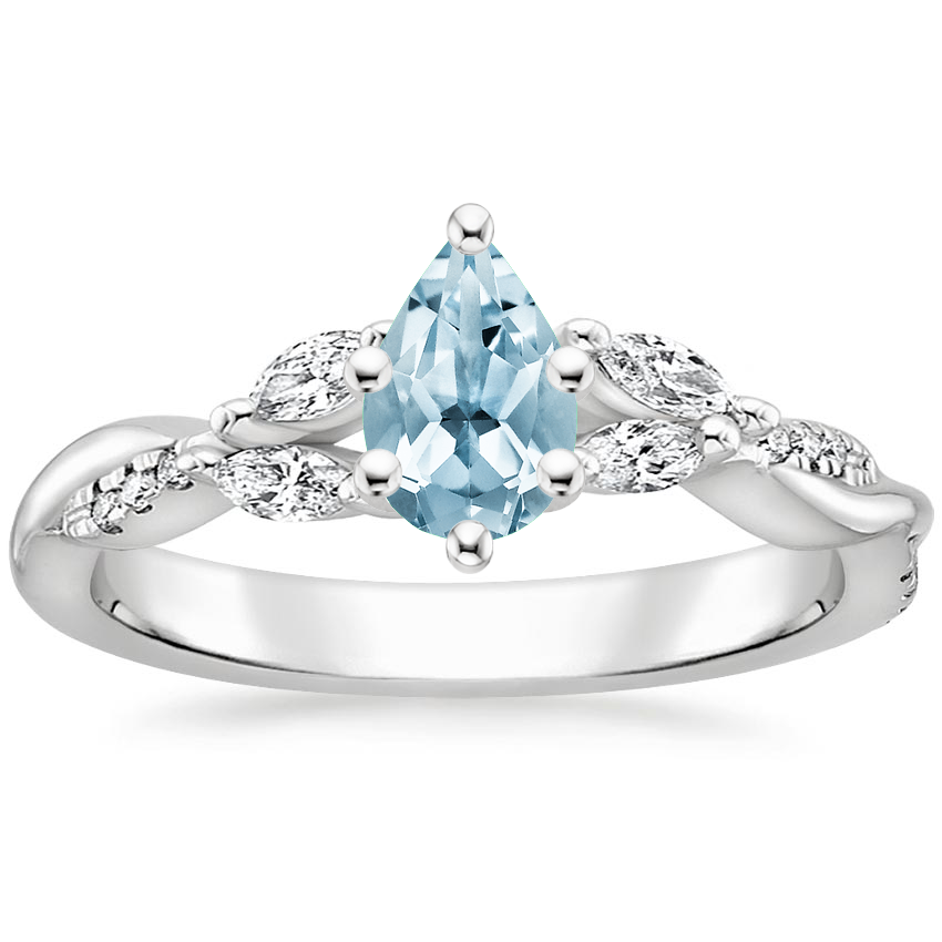 Aquamarine Cassia Diamond Ring in 18K White Gold