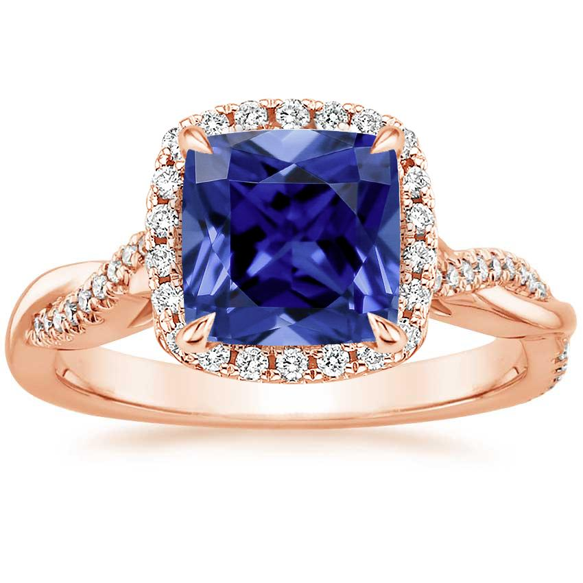 Rose Gold Sapphire Petite Twisted Vine Halo Diamond Ring (1/4 ct. tw.)