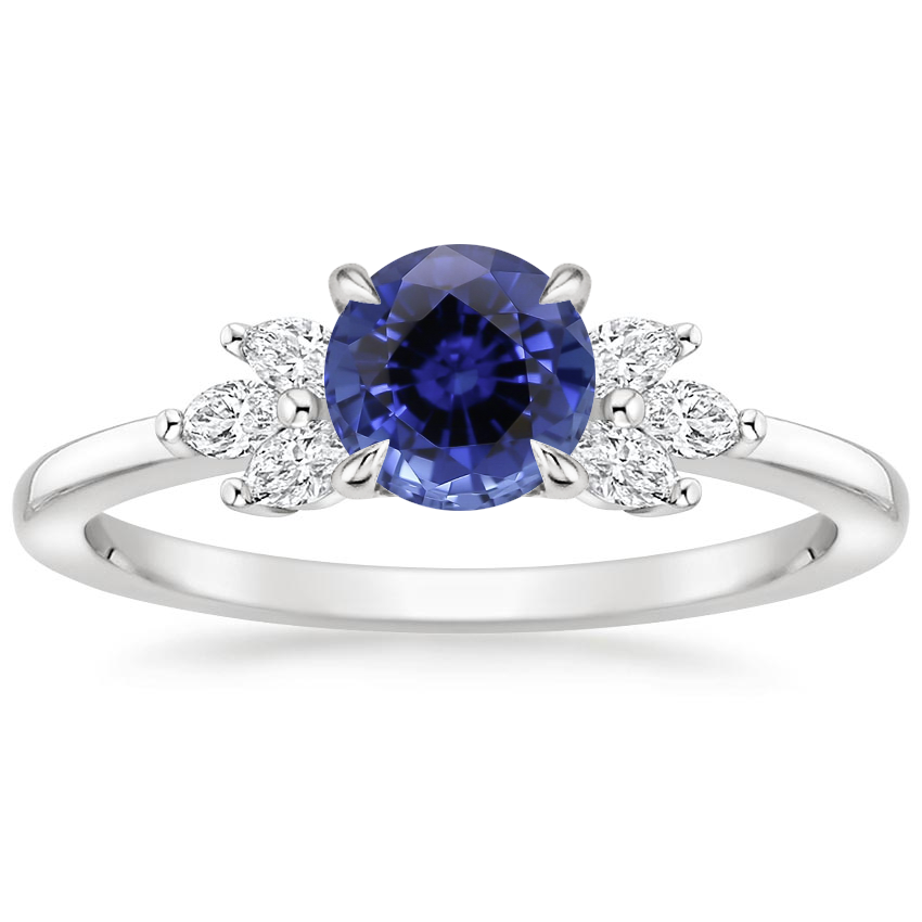 Sapphire Stella Diamond Ring in 18K White Gold