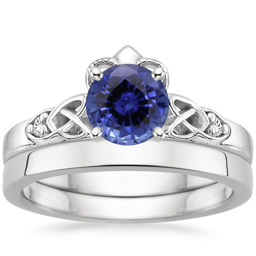 18KW Sapphire Celtic Claddagh Diamond Bridal Set, top view