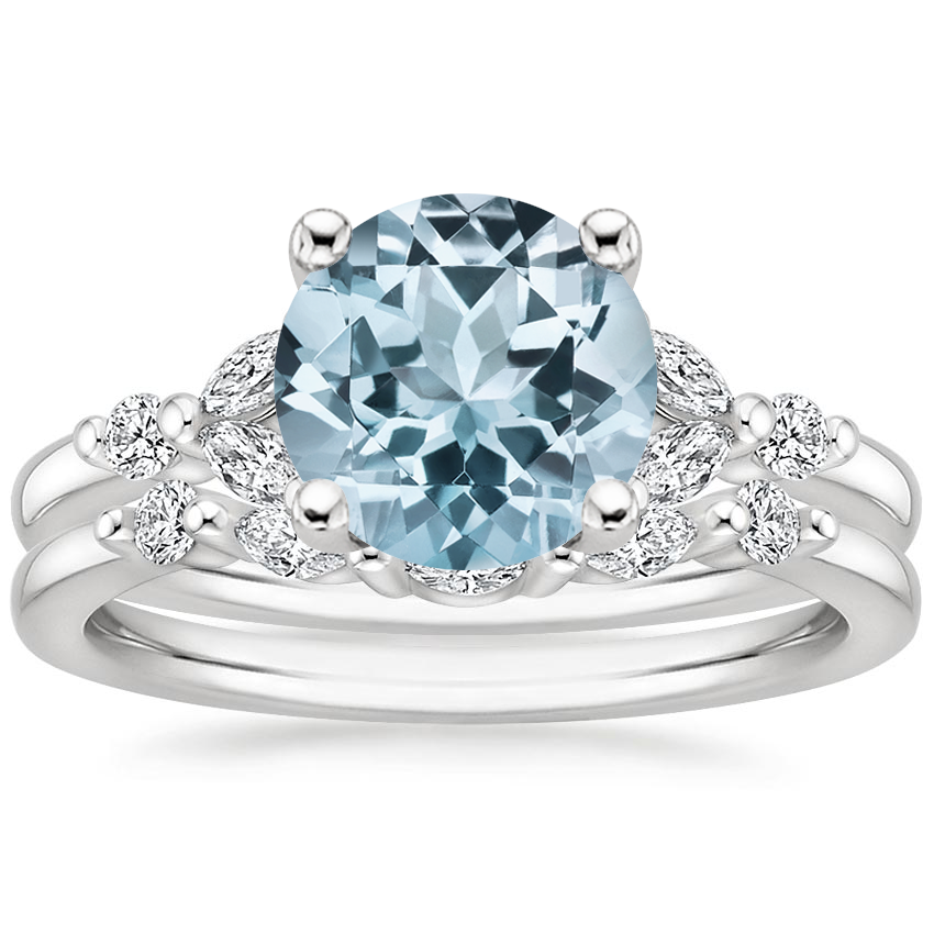 18KW Aquamarine Verbena Diamond Bridal Set (1/4 ct. tw.), top view