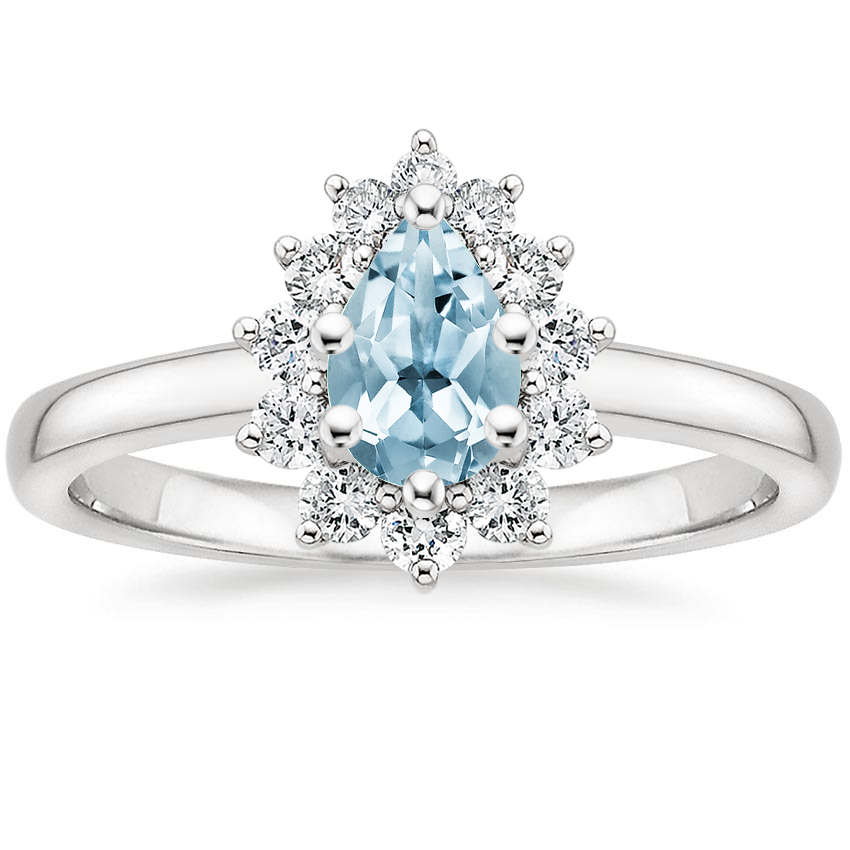 Aquamarine Sunburst Diamond Ring (1/4 ct. tw.) in Platinum