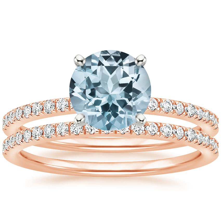14KR Aquamarine Ballad Diamond Bridal Set (1/3 ct. tw.), top view