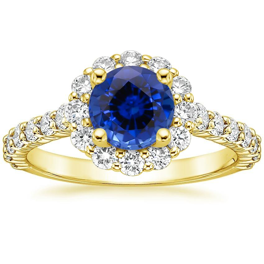 Yellow Gold Sapphire Lotus Flower Diamond Ring with Side Stones (3/4 ct. tw.)