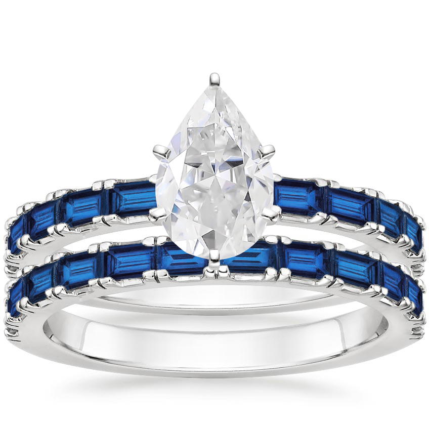 18KW Moissanite Gemma Bridal Set with Sapphire Accents, top view