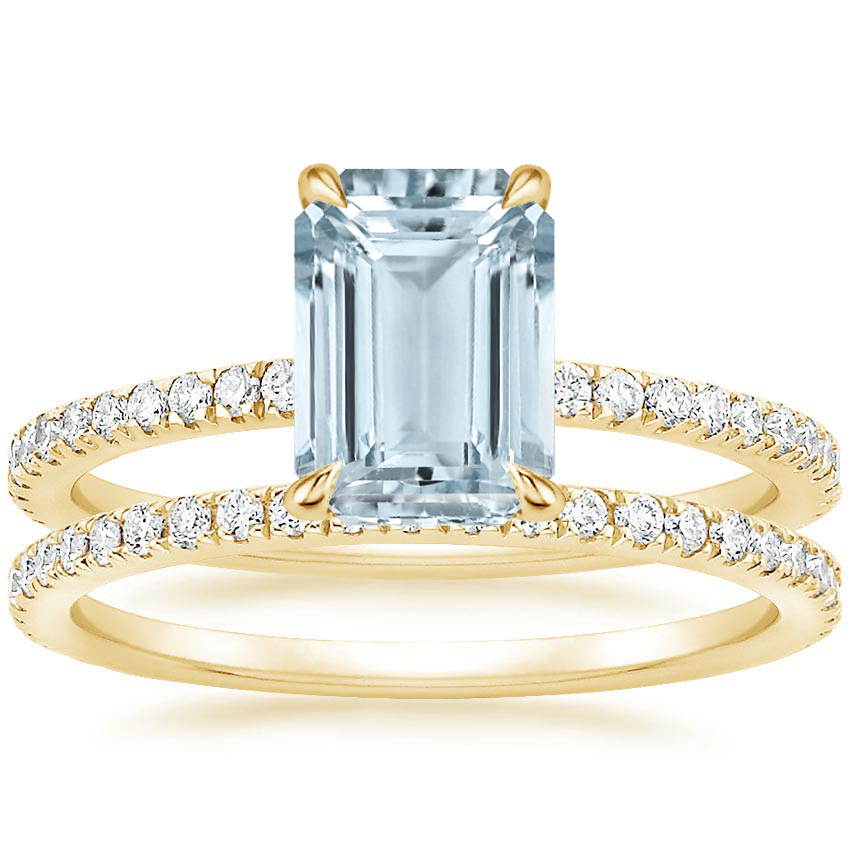 18KY Aquamarine Luxe Viviana Diamond Bridal Set (1/2 ct. tw.), top view