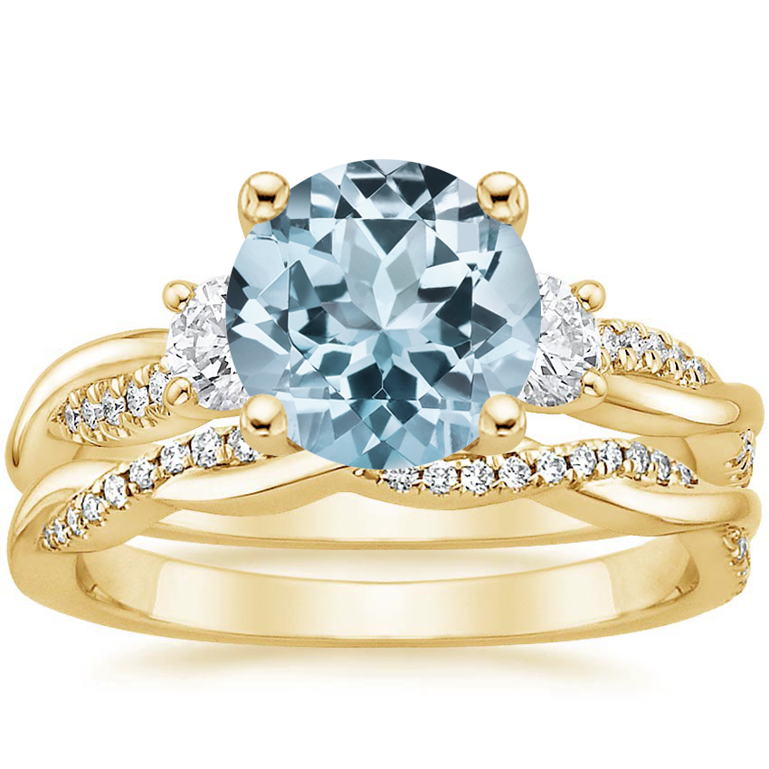 18KY Aquamarine Three Stone Petite Twisted Vine Diamond Bridal Set (1/2 ct. tw.), top view