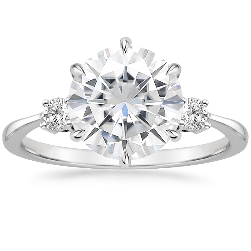 Moissanite Six Prong Selene Diamond Ring (1/10 ct. tw.) in 18K White Gold