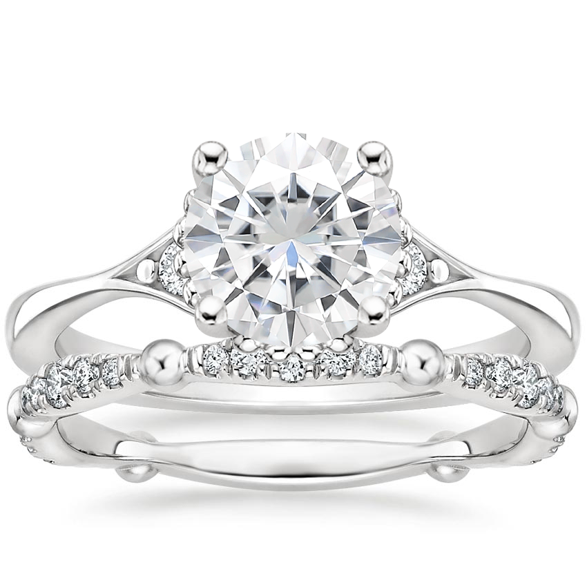 18KW Moissanite Dolce Diamond Bridal Set (1/4 ct. tw.), top view