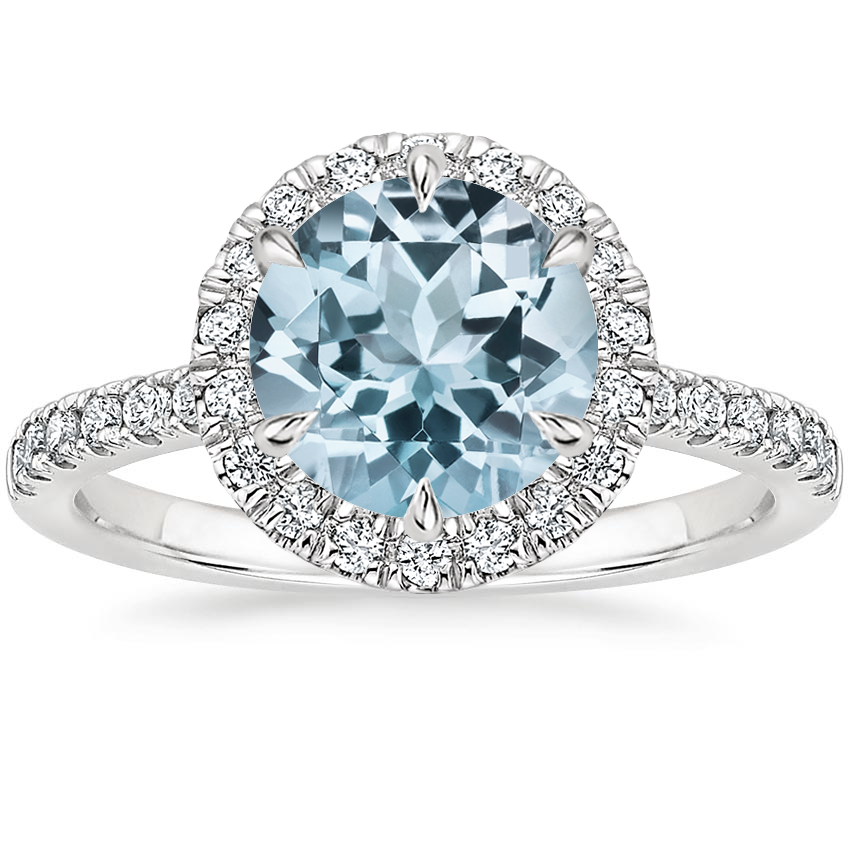 Aquamarine Poppy Halo Diamond Ring (1/3 ct. tw.) in 18K White Gold