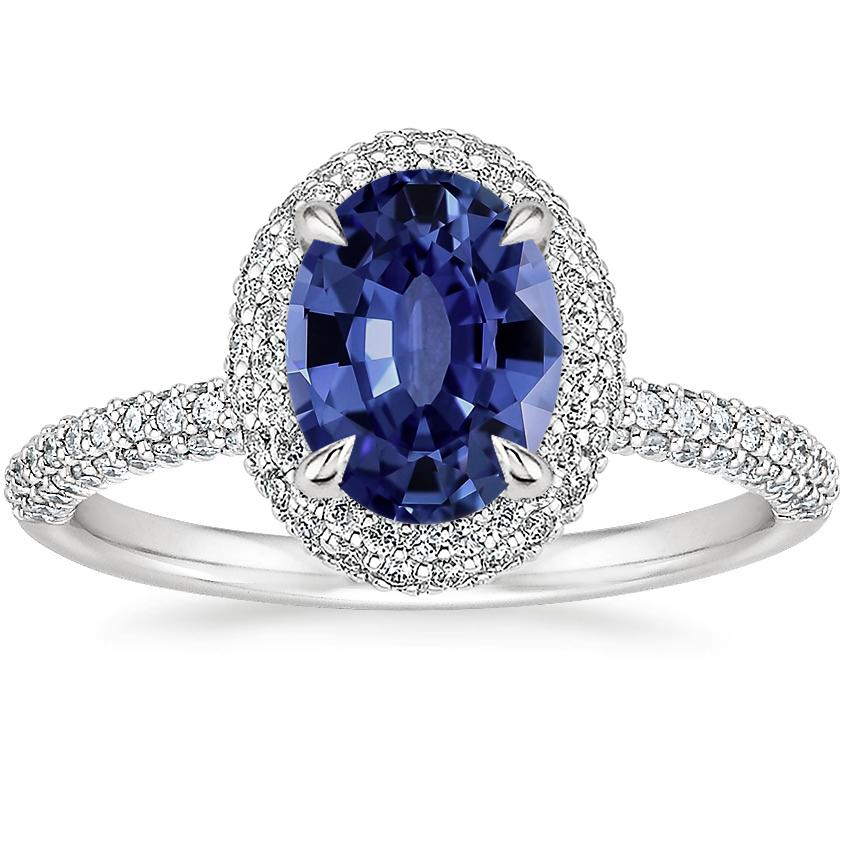 Sapphire Valencia Halo Diamond Ring (1/2 ct. tw.) in Platinum