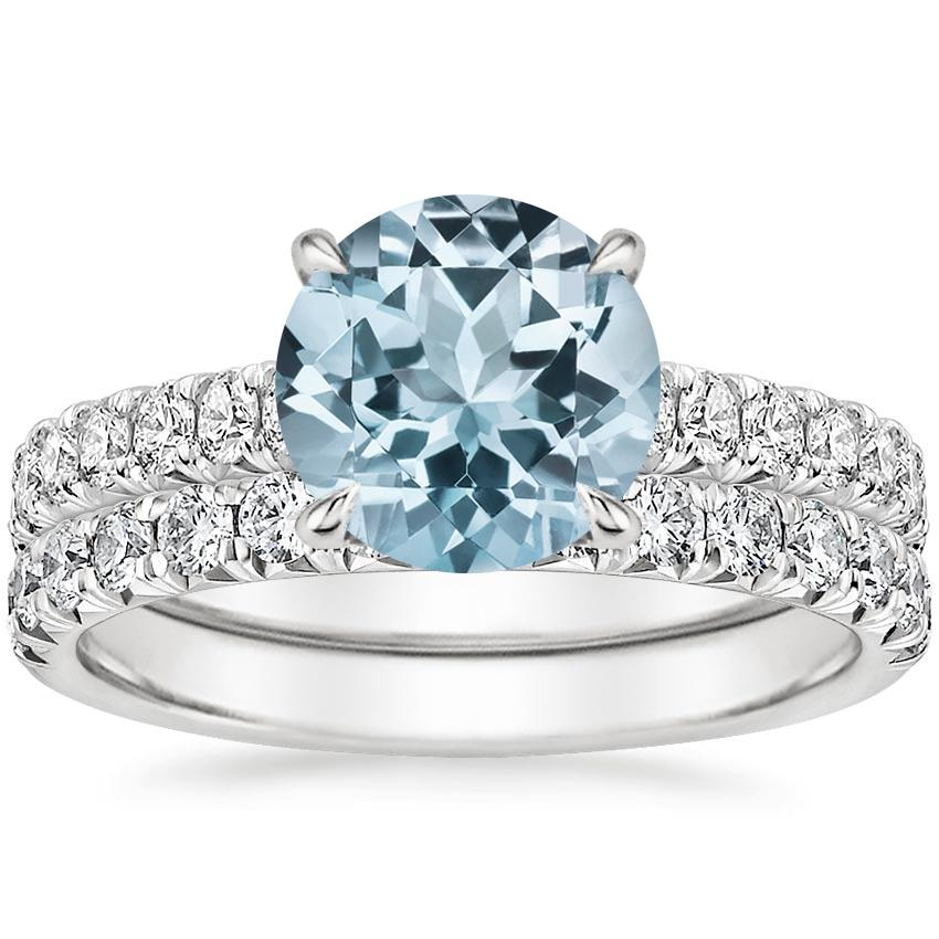 18KW Aquamarine Sienna Diamond Bridal Set (7/8 ct. tw.), top view