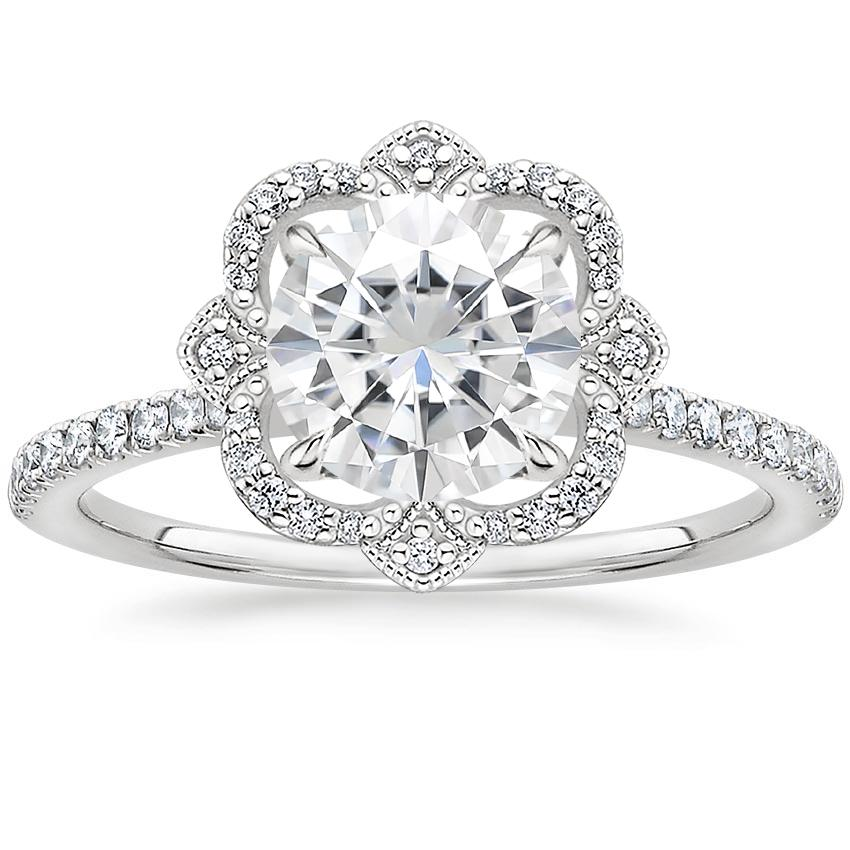 Moissanite Reina Diamond Ring in 18K White Gold
