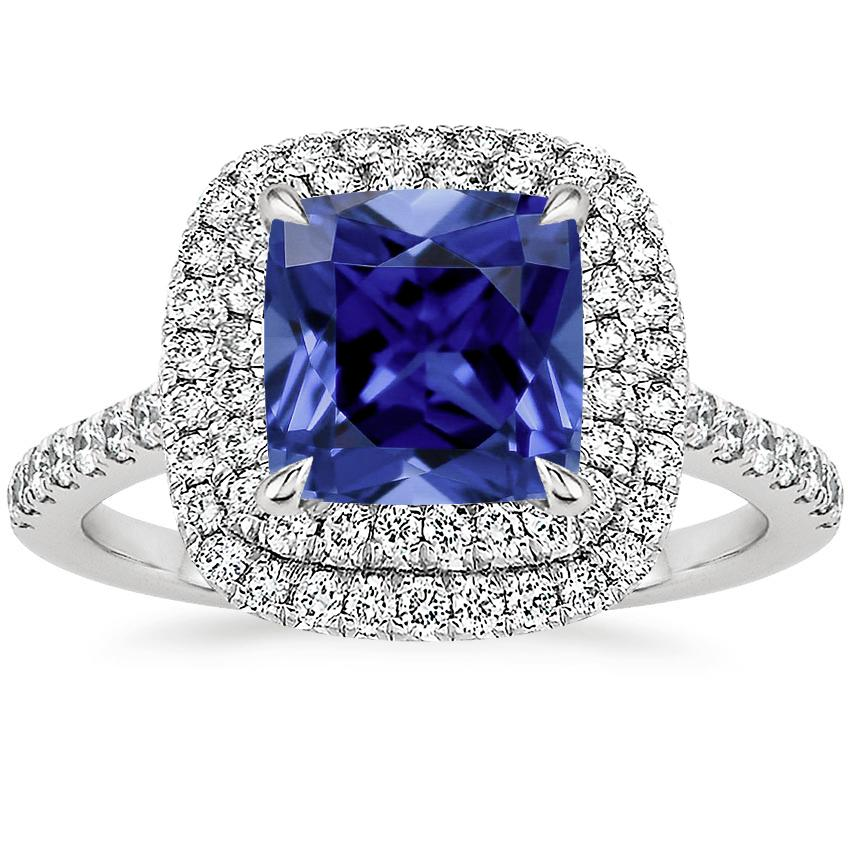 Sapphire Soleil Diamond Ring (1/2 ct. tw.) in 18K White Gold