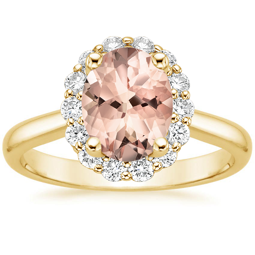 Yellow Gold Morganite Lotus Flower Diamond Ring (1/4 ct. tw.)